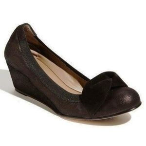 Anyi Lu Rose Black Suede Wedge Ballet Shoes